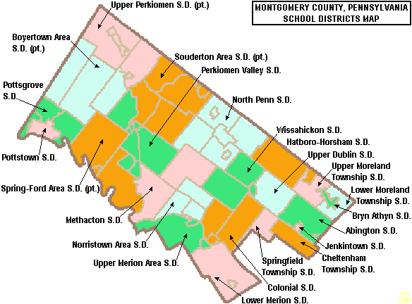 Map of Montgomery County Pennsylvania School Districts