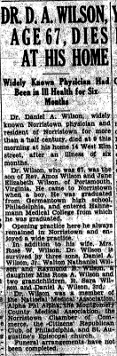 Wilson Obit., Front page of Norristown Herald, Dec. 22, 1934
